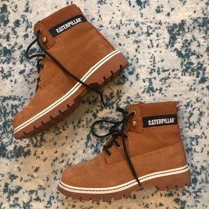 Corduroy CAT brand boots.